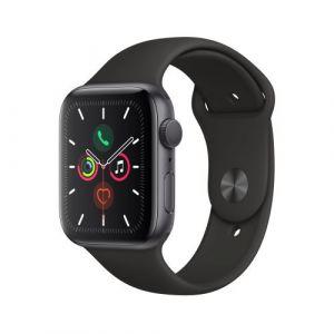 Apple Watch Watch Series 5 GPS 44mm, Boitier Aluminium Gris Sidéral avec Bracelet Sport Noir - S/M & M/L