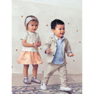 Vertbaudet Sandales de cérémonie bébé en cuir blanc