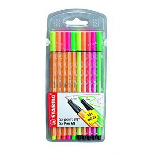 Stabilo Étui de 10 stylos fins point 88 et Pen 68
