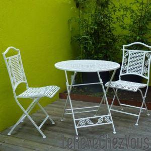 Table de jardin Flora en acier avec 2 chaises pliantes