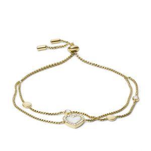 Fossil Bracelet JF03216710 - VINTAGE GLITZ Doré Nacre Cristaux Transparents / Double Rang 21,5 cm Acier Femme
