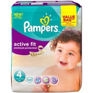 Pampers Active Fit taille 4 Maxi (7-18 kg) - Value Bag x 43 pièces