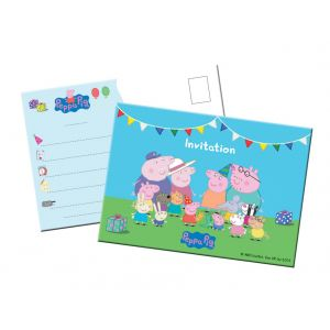 8 cartes d'invitation Peppa Pig