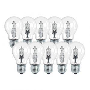 Osram Lampe halogène, Classic A, culot E27, à intensité variable, 77 de rechange pour 100 W 2800 K, Lot de 10, verre, E27, W, Blanc chaud, 9,4 x 5,5 x 5,5 cm, 10 unités