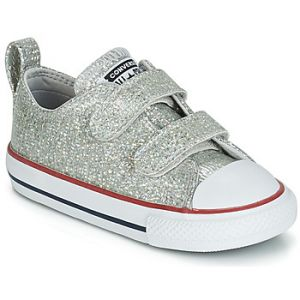 Converse Baskets basses enfant CHUCK TAYLOR ALL STAR 2V SPARKLE SYNTHETIC OX Gris - Taille 20,22,23,25,26