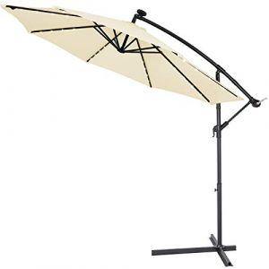 Deuba Kingsleeve | Parasol déporté en Aluminium • Ø3m • Haiti • éclairage 32 LED • Lampe Solaire • Beige | Protection, manivelle, Jardin, terrasse, Balcon, Soleil