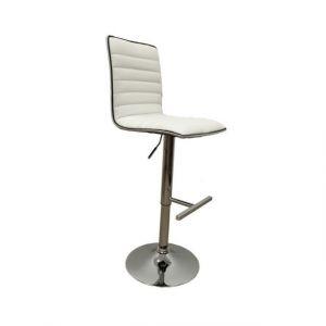 2 chaises de bar réglables cerclage PVC Inox - Blanc