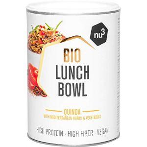 Nu3 Bio Lunch Bowl Quinoa 400g - Plat cuisiné sain avec des herbes et des légumes méditerranéens - Plat cuisiné rapide pour le travail et entre les deux - Végétalien, sans gluten ni lactose