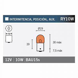 Osram Ampoule BAU15s 12 V W, Feu arrière Original RY10W, 5009, 12 V, boîte Pliante de 10