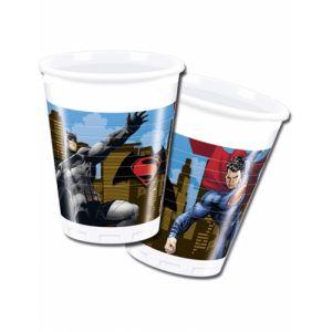8 gobelets en plastique Batman vs Superman