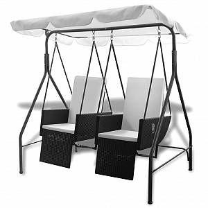 VidaXL Balancelle noire 2 places avec fauteuils inclinables en ploryrotin