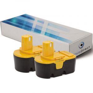 Visiodirect Lot de 2 batteries pour Ryobi CS1800 tronçonneuse sans fil 3000mAh 18V