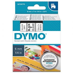 Dymo Rubans D1 43610 - Ruban noir/transparent - 6 mm x 7 m