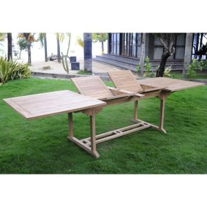 Wood-en-stock Table de jardin rectangulaire en teck brut XXL 200/250/300 / 100 x 75 cm