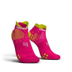 Compressport Racing Socks V3 Ultralight Run Low %u2013 T1, Rose Fluoresce