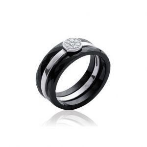 Collection Zanzybar Bague céramique noire pour femme avec 3 anneaux amovibles dont un avec brillant, collection Jour et Nuit Taille - 54