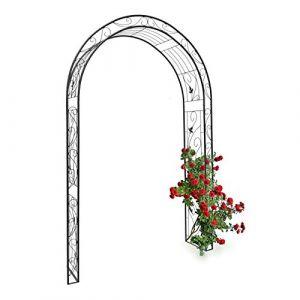 Relaxdays Arche à rosiers tuteur pour roses obélisque Support de plantes grimpantes colonne de Jardin en fer revêtu de poudrage-H x l x P: 226 x 144 x 36,5 cm-noir