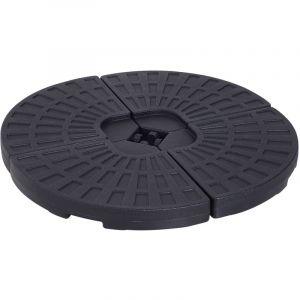 Outsunny Lot de 4 poids de lestage pour parasols déportés dim. totales 48L x 48l x 8H cm polyéthylène haute densité noir