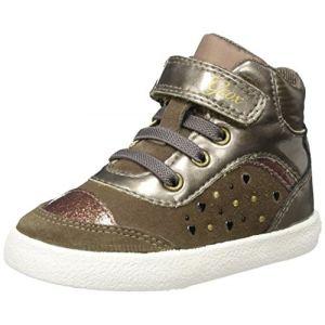 Geox B Kiwi A, Sneakers Basses bébé Fille, Marron (Smoke Grey), 26 EU