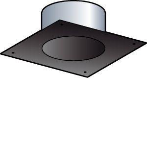 Poujoulat Plaque de finition tubage (rigide ou flexible) - Diamètre : 150 - Carrée 25 x 25 cm (section 35 x 35) - Couleur : BLANC -