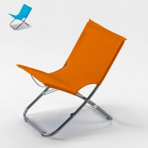 Beach and Garden Design Chaise de plage transat pliante fauteuil piscine acier RODEO | Orange