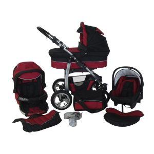 Chilly Kids Dino - Poussette combinée 3 en 1 avec nacelle et siège auto cosy