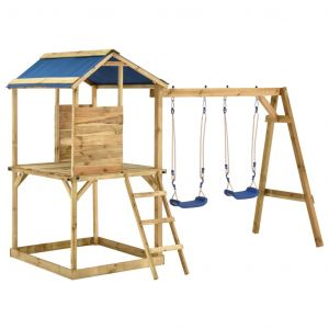 VidaXL Aire de jeu avec balançoires et échelle Bois de pin imprégné