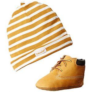 Timberland Crib Bt W Hat, Chaussures de Naissance et bonnet mixte bb, Marron (Wheat) - 17 EU