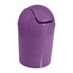 Frandis Poubelle boule 5,5 l en plastique Violet - Ouverture à clapet - Ø 19 x 31 cm