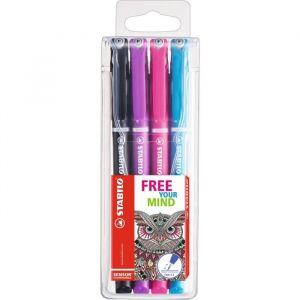 Stabilo 189/4-02 - Etui de 4 stylos-feutres SENSOR, tracé 0,3 mm, encre 4 coul. Color Tangle, coloris assortis