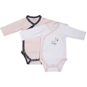 Sauthon Lot de 2 bodies blanc/rose naissance Miss Chipie