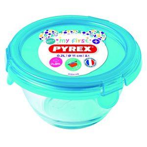Lilikim LDD Pyrex - Plat rond avec couvercle My First Pyrex - Ø11 cm - Bleu