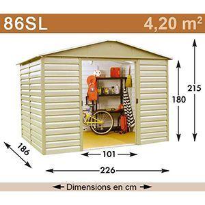 Yardmaster 86SL - Abri de jardin en métal 4,20 m2