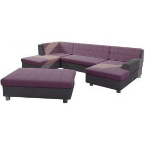 Comforium Canapé d'angle panoramique design avec méridienne droite et pouf en tissu rose et cuir synthétique gris foncé
