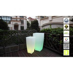 Lumisky Pot lumineux Led sur batterie rechargeable avec télécommande - 32x32x70cm - En polyéthylène - Sur batterie rechargeable avec télécommande multifonctions - Dimensions : 32x32x70cm.