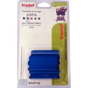 Trodat Cassette d'encre 6/4914 bleue pour tampons Printy 4914 (blister de 3 cassettes d'encre)