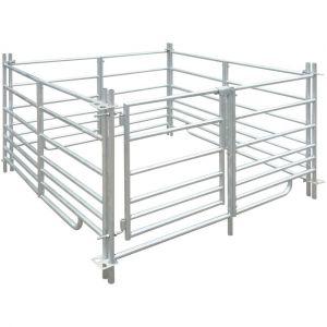 VidaXL Parc enclos mouton en acier galvanisé 4 panneaux (137 x 137 x 92 cm)