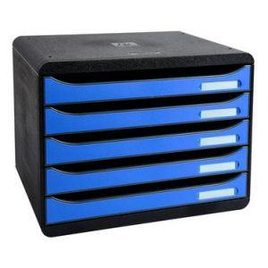 Exacompta 308779D - BIG-BOX PLUS à l'italienne, coloris noir/bleu glacé