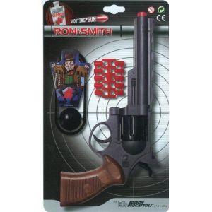 Edison Giocattoli Set Ron Smith : Revolver 8 coups avec cibles et amorces 28 cm