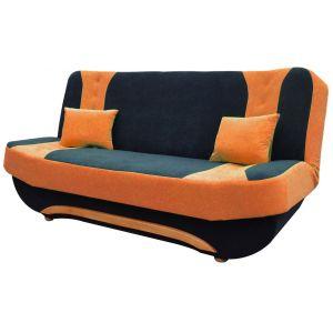 Comforium Canapé clic-clac à 2 places en tissu noir et orange avec coffre de rangement