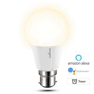 Sengled Ampoule LED dimmable Blanc chaud 2700K, Lampe Wifi contrôlé par App, pas de hub requis, compatible avec Amazon Alexa & Google Assistant, culot B22, A60, 60W équivalent, lot de 1