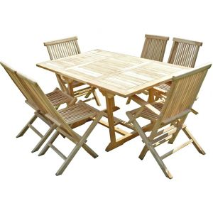 C&L Jardin Serang - Ensemble salon de jardin en teck 4 chaises 2 fauteuils