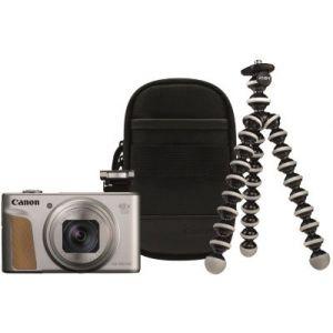 Canon Appareil photo Compact PowerShot SX740 HS Argent+Trepied+Housse