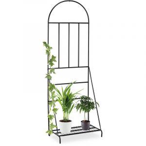 Relaxdays Etagère à fleurs avec treillis, jardin, balcon, terrasse, Acier, Support à plantes, 200 x 70 x 40 cm, noir