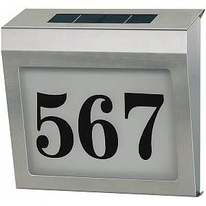 Brennenstuhl Plaque de numéro de maison solaire en acier inoxydable