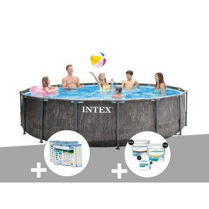 Intex Kit piscine tubulaire Baltik ronde 5,49 x 1,22 m + 6 cartouches de filtration + Kit de traitement au chlore