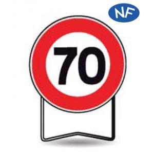 Taliaplast 524014 - Panneau signalisation prescription b14 interdit +70km/h t1 850mm