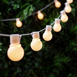 Lights4Fun Guirlande Lumineuse Guinguette avec 30 Boules LED Blanc Chaud pour Intérieur / Extérieur de