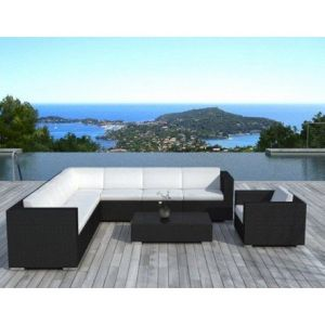 delorm design salon de jardin de luxe en r sine tress e 8 places comparer avec. Black Bedroom Furniture Sets. Home Design Ideas