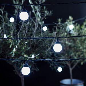 Lights4Fun Guirlande Guinguette Extérieure Raccordable avec 20 Globes LED Blanches sur Câble Vert Foncé, Série PRO